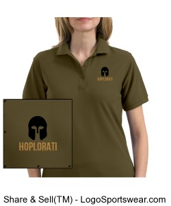 Women's Bark colored Silk Touch Polo with Hoplite Helmet and Hoplorati Wording Design Zoom