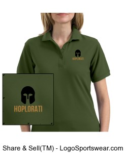 Women's Clover Green Silk Touch Polo with Hoplite Helmet and Hoplorati Wording Design Zoom
