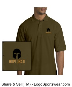 Men's Bark Colored Silk Polo with Hoplite Helmet and Hoplorati Wording Design Zoom