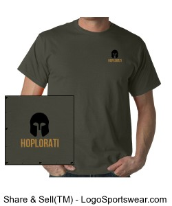 Unisex Short Sleeved Charcoal Colored T-Shirt with Hoplite Helment and Hoplorati Wording Design Zoom