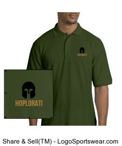 Men's Clover Green Silk Touch Polo with Hoplite Helmet and Hoplorati Wording Design Zoom