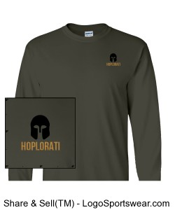 Long-sleeve Charcoal colored T-Shirt with Hoplite Helmet and Hoplorati Wording Design Zoom