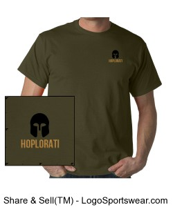 Unisex Cotton Short Sleeved T-Shirt with Hoplite Helmet and Hoplorati Wording Design Zoom